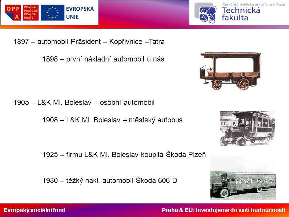 Evropský sociální fond Praha & EU: Investujeme do vaší budoucnosti 1897 – automobil Präsident – Kopřivnice –Tatra 1898 – první nákladní automobil u nás 1905 – L&K Ml.