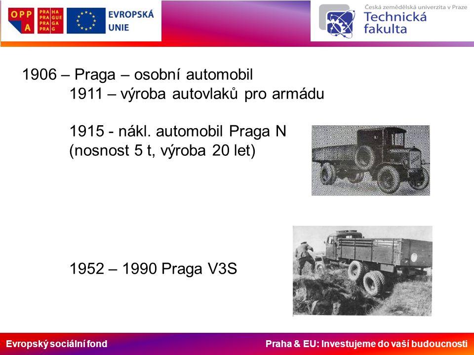 Evropský sociální fond Praha & EU: Investujeme do vaší budoucnosti 1906 – Praga – osobní automobil 1911 – výroba autovlaků pro armádu 1915 - nákl. aut