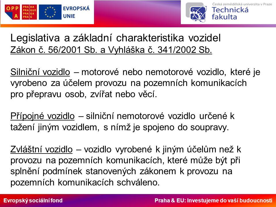 Evropský sociální fond Praha & EU: Investujeme do vaší budoucnosti Legislativa a základní charakteristika vozidel Zákon č. 56/2001 Sb. a Vyhláška č. 3