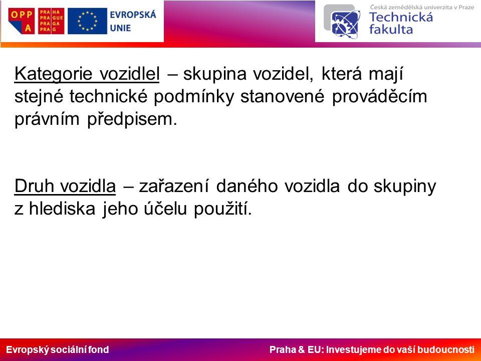 Evropský sociální fond Praha & EU: Investujeme do vaší budoucnosti Kategorie vozidlel – skupina vozidel, která mají stejné technické podmínky stanovené prováděcím právním předpisem.