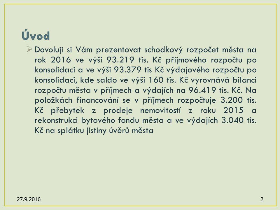  Dovoluji si Vám prezentovat schodkový rozpočet města na rok 2016 ve výši 93.219 tis.