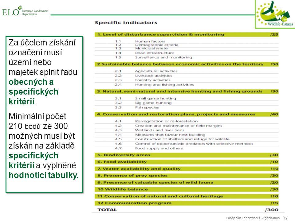 European Landowners Organization 12 Za účelem získání označení musí území nebo majetek splnit řadu obecných a specifických kritérií.