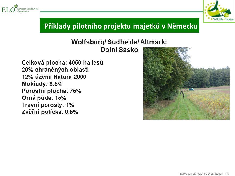 European Landowners Organization 20 Příklady pilotního projektu majetků v Německu Wolfsburg/ Südheide/ Altmark; Dolní Sasko Celková plocha: 4050 ha lesů 20% chráněných oblastí 12% území Natura 2000 Mokřady: 8.5% Porostní plocha: 75% Orná půda: 15% Travní porosty: 1% Zvěřní políčka: 0.5%