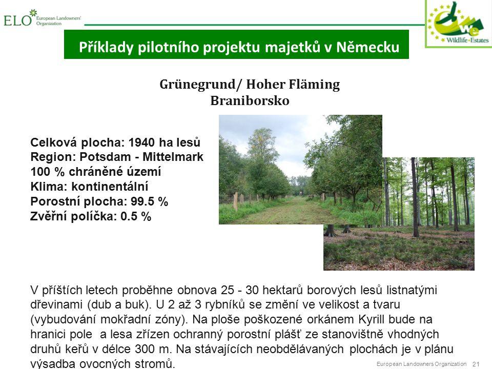 European Landowners Organization 21 Příklady pilotního projektu majetků v Německu Grünegrund/ Hoher Fläming Braniborsko Celková plocha: 1940 ha lesů Region: Potsdam - Mittelmark 100 % chráněné území Klima: kontinentální Porostní plocha: 99.5 % Zvěřní políčka: 0.5 % V příštích letech proběhne obnova 25 - 30 hektarů borových lesů listnatými dřevinami (dub a buk).