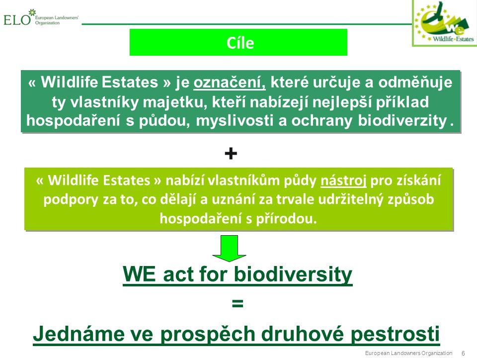 European Landowners Organization 6 Cíle « Wildlife Estates » nabízí vlastníkům půdy nástroj pro získání podpory za to, co dělají a uznání za trvale udržitelný způsob hospodaření s přírodou.