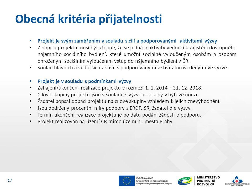 Projekt je svým zaměřením v souladu s cíli a podporovanými aktivitami výzvy Z popisu projektu musí být zřejmé, že se jedná o aktivity vedoucí k zajištění dostupného nájemního sociálního bydlení, které umožní sociálně vyloučeným osobám a osobám ohroženým sociálním vyloučením vstup do nájemního bydlení v ČR.