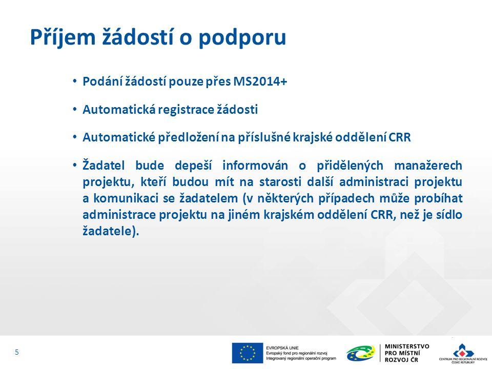 Podání žádostí pouze přes MS2014+ Automatická registrace žádosti Automatické předložení na příslušné krajské oddělení CRR Žadatel bude depeší informován o přidělených manažerech projektu, kteří budou mít na starosti další administraci projektu a komunikaci se žadatelem (v některých případech může probíhat administrace projektu na jiném krajském oddělení CRR, než je sídlo žadatele).