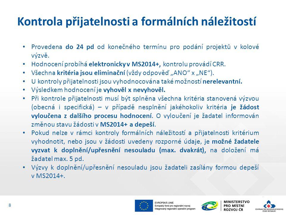 Provedena do 24 pd od konečného termínu pro podání projektů v kolové výzvě.