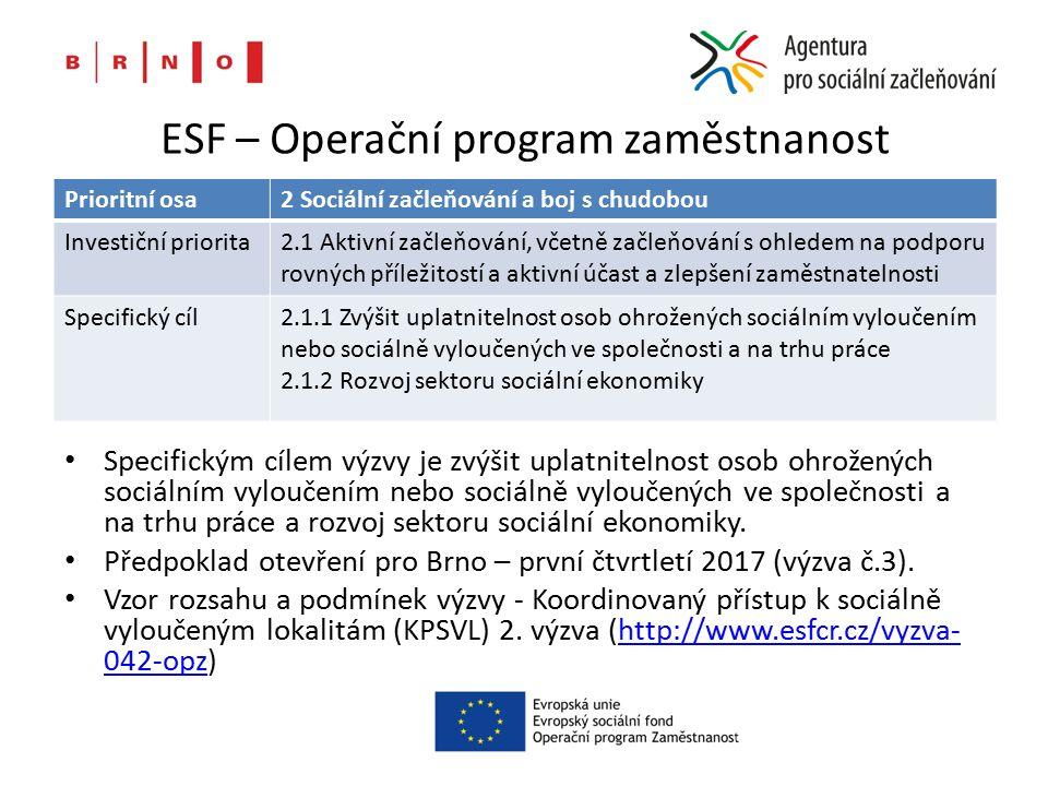 ESF – Operační program zaměstnanost Prioritní osa2 Sociální začleňování a boj s chudobou Investiční priorita2.1 Aktivní začleňování, včetně začleňování s ohledem na podporu rovných příležitostí a aktivní účast a zlepšení zaměstnatelnosti Specifický cíl2.1.1 Zvýšit uplatnitelnost osob ohrožených sociálním vyloučením nebo sociálně vyloučených ve společnosti a na trhu práce 2.1.2 Rozvoj sektoru sociální ekonomiky Specifickým cílem výzvy je zvýšit uplatnitelnost osob ohrožených sociálním vyloučením nebo sociálně vyloučených ve společnosti a na trhu práce a rozvoj sektoru sociální ekonomiky.