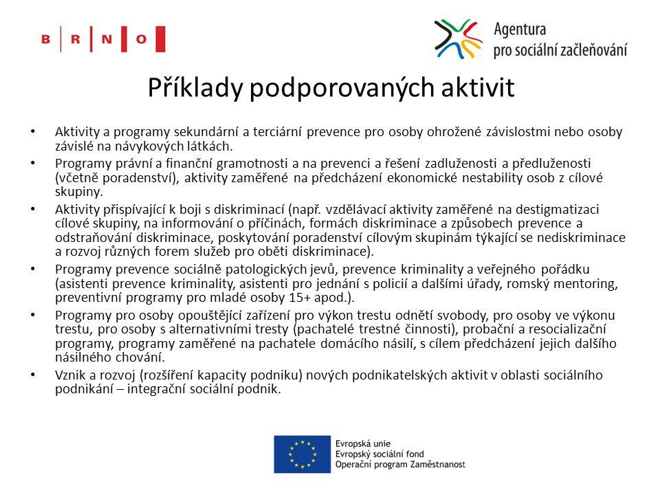 Příklady podporovaných aktivit Aktivity a programy sekundární a terciární prevence pro osoby ohrožené závislostmi nebo osoby závislé na návykových látkách.