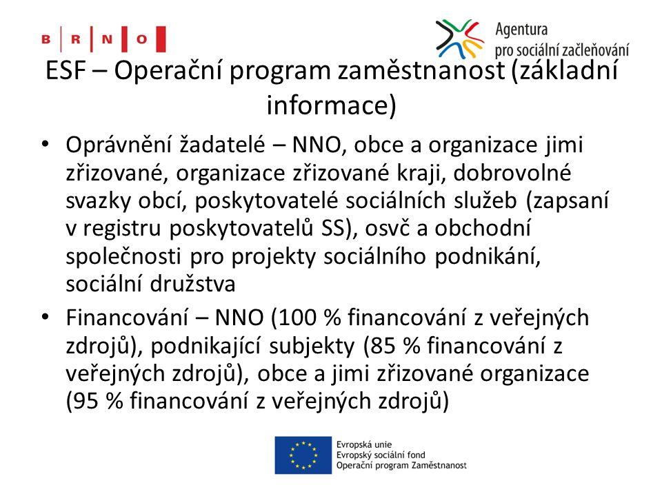 ESF – Operační program zaměstnanost (základní informace) Oprávnění žadatelé – NNO, obce a organizace jimi zřizované, organizace zřizované kraji, dobrovolné svazky obcí, poskytovatelé sociálních služeb (zapsaní v registru poskytovatelů SS), osvč a obchodní společnosti pro projekty sociálního podnikání, sociální družstva Financování – NNO (100 % financování z veřejných zdrojů), podnikající subjekty (85 % financování z veřejných zdrojů), obce a jimi zřizované organizace (95 % financování z veřejných zdrojů)