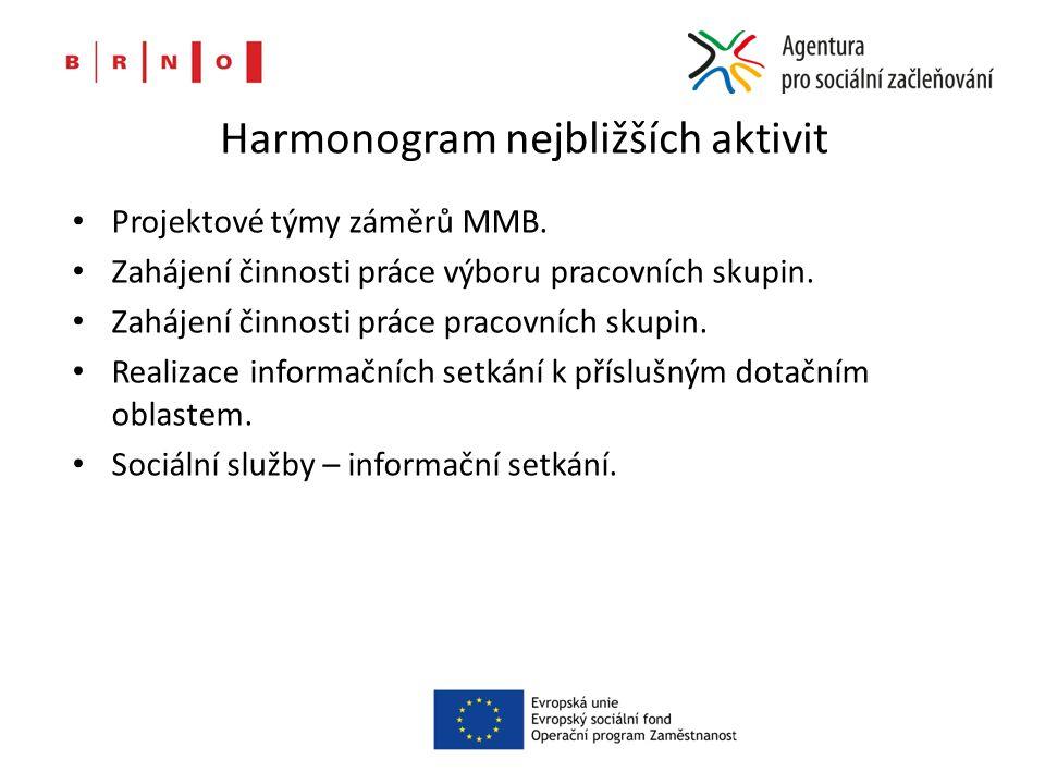 Harmonogram nejbližších aktivit Projektové týmy záměrů MMB.