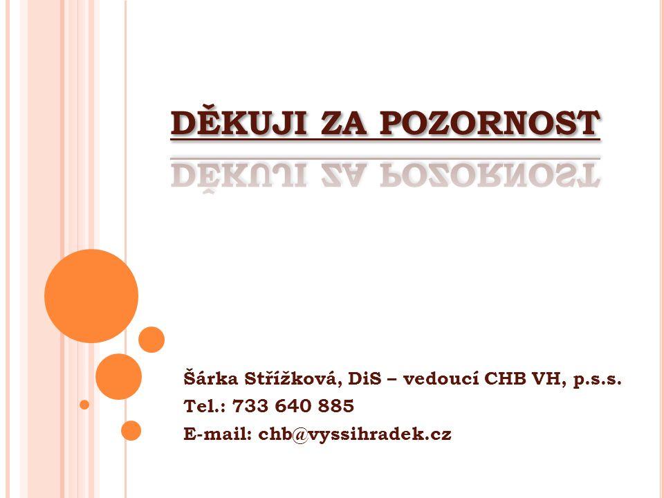 Šárka Střížková, DiS – vedoucí CHB VH, p.s.s. Tel.: 733 640 885 E-mail: chb@vyssihradek.cz