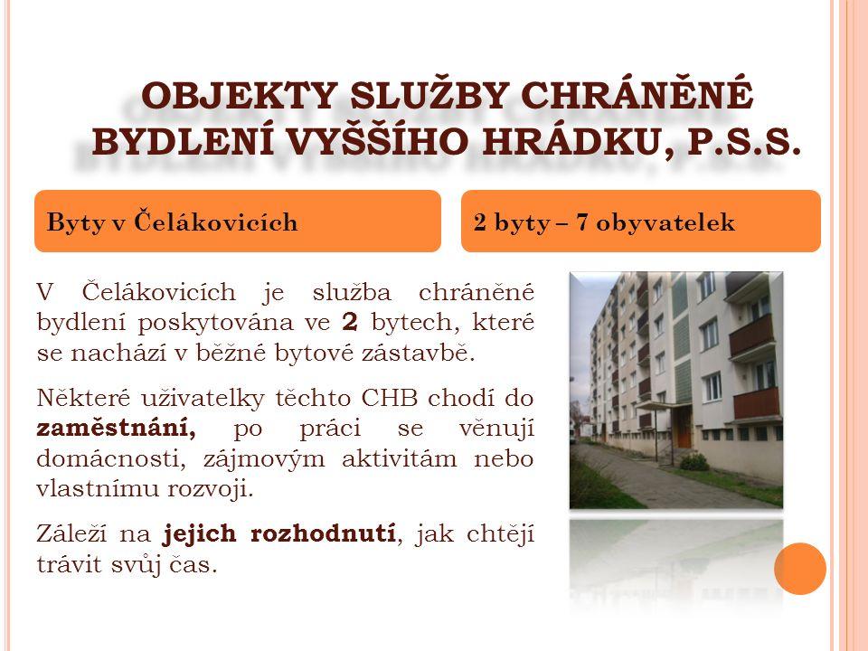 OBJEKTY SLUŽBY CHRÁNĚNÉ BYDLENÍ VYŠŠÍHO HRÁDKU, P.S.S. V Čelákovicích je služba chráněné bydlení poskytována ve 2 bytech, které se nachází v běžné byt