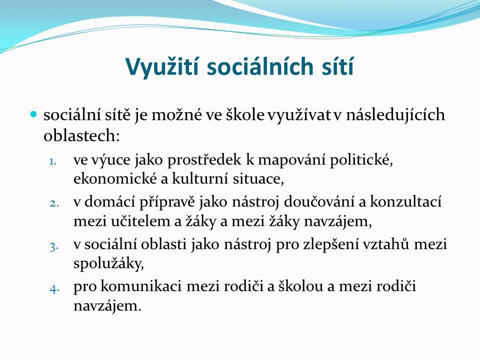 Využití sociálních sítí sociální sítě je možné ve škole využívat v následujících oblastech: 1.