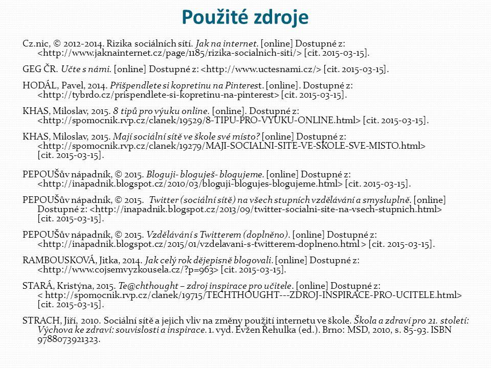 Použité zdroje Cz.nic, © 2012-2014. Rizika sociálních sítí.