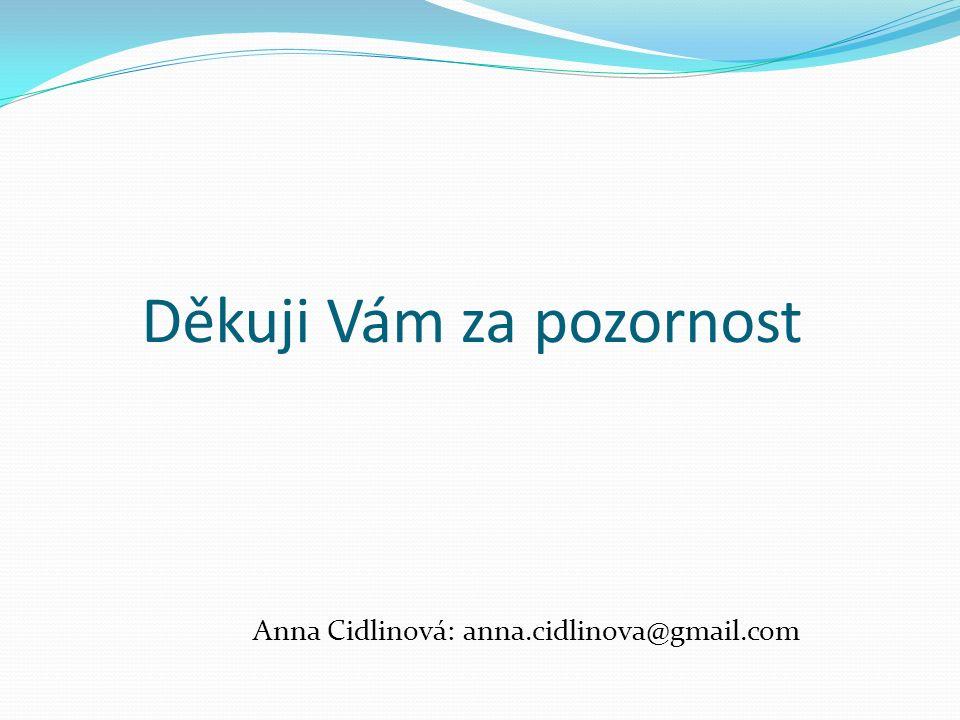 Děkuji Vám za pozornost Anna Cidlinová: anna.cidlinova@gmail.com