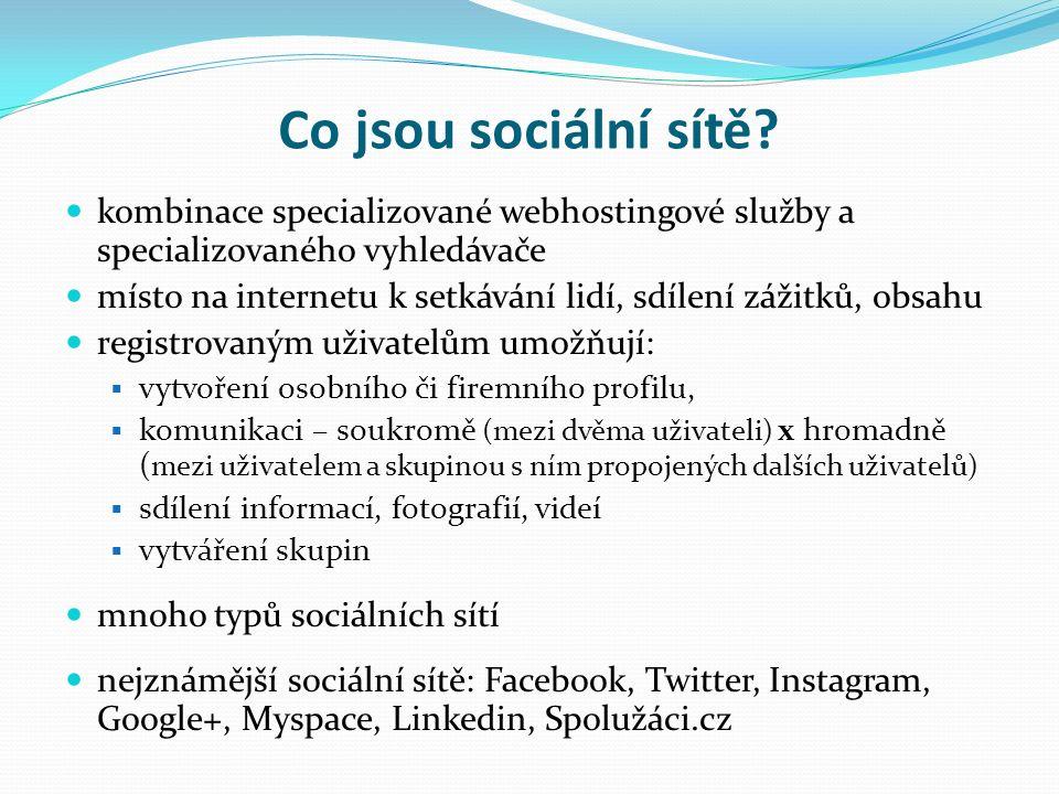 Přínos využívání sociálních sítí ve školách využívání sociálních sítí vhodným způsobem snižuje riziko plynoucí z nekontrolované účasti mládeže v sociálních sítích používáním sociálních sítí žáky a rodiči vzniknou informovaní účastníci připravení čelit rizikům, která sociální sítě otevírají