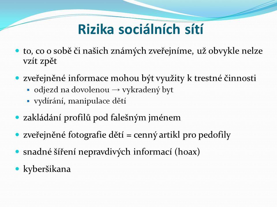 Použité zdroje Cz.nic, © 2012-2014.Rizika sociálních sítí.