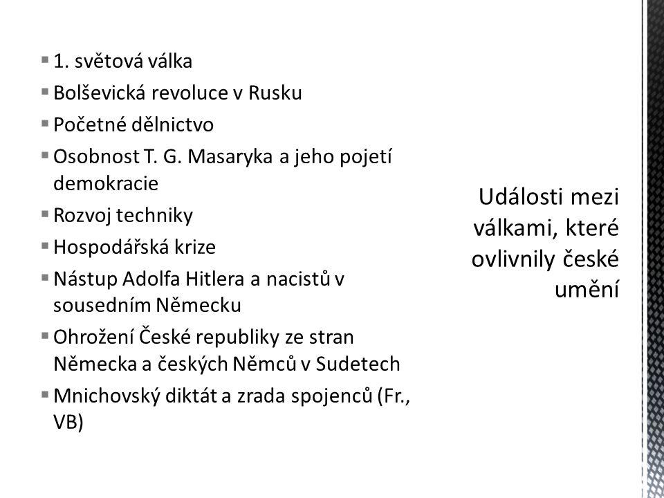  1. světová válka  Bolševická revoluce v Rusku  Početné dělnictvo  Osobnost T. G. Masaryka a jeho pojetí demokracie  Rozvoj techniky  Hospodářsk
