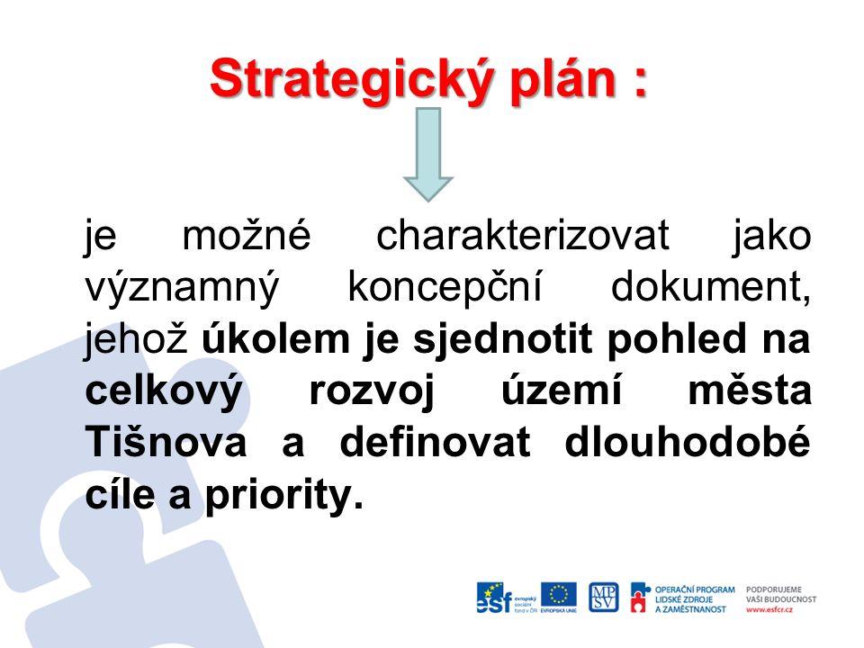 je také prostředkem k max.využití potenciálu města /zpracované dokumenty, lidské zdroje atd./ k posílení jeho schopnosti absorbovat finanční prostředky Evropské unie / a tím i zvýšit jeho konkurenceschopnost/ a díky tomu získat co nejvíce těchto prostředků na realizaci projektů, které přispějí k naplnění stanovených cílů