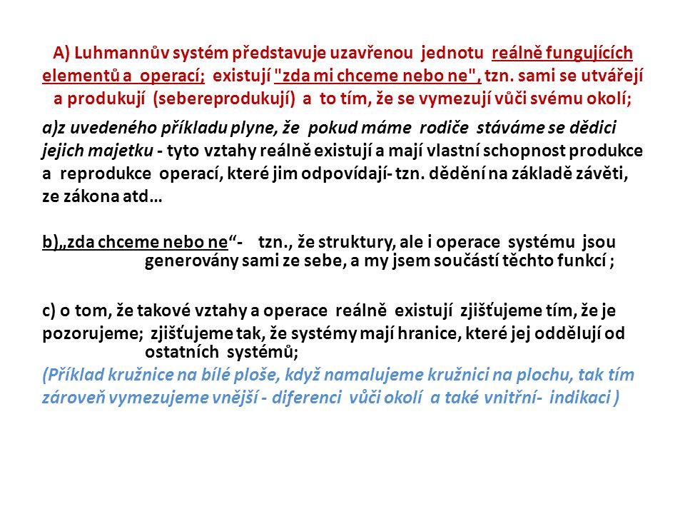A) Luhmannův systém představuje uzavřenou jednotu reálně fungujících elementů a operací; existují zda mi chceme nebo ne , tzn.