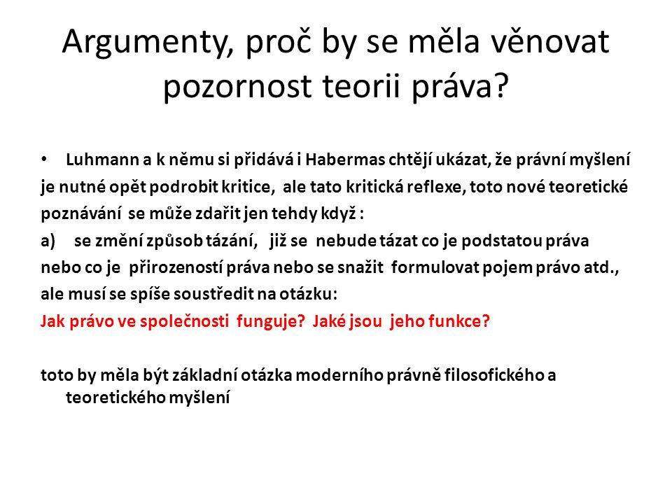 Argumenty, proč by se měla věnovat pozornost teorii práva.