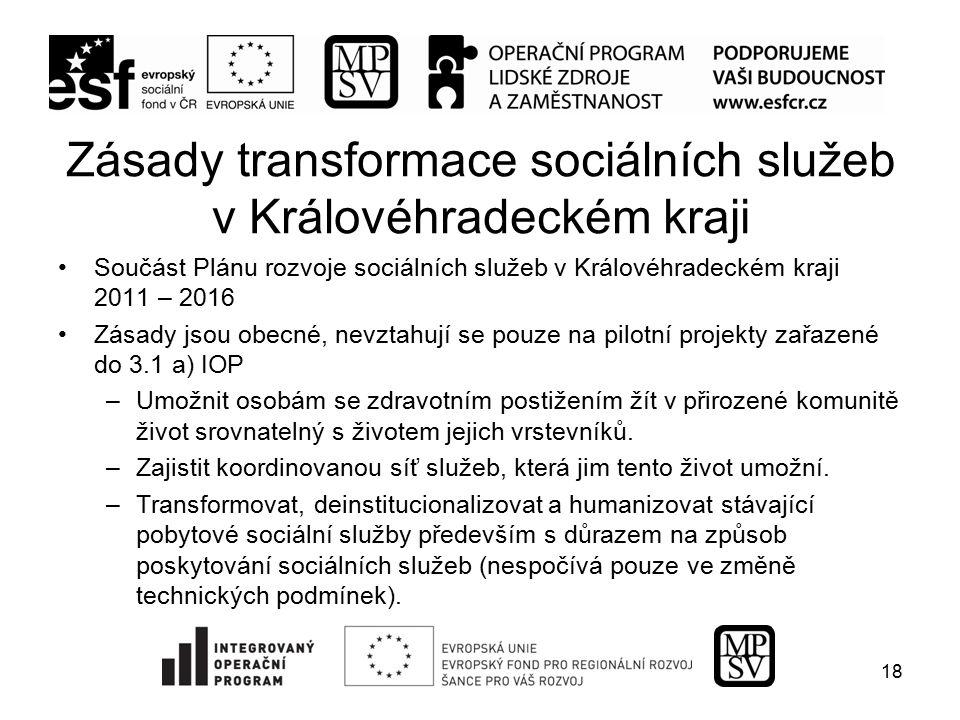 Zásady transformace sociálních služeb v Královéhradeckém kraji Součást Plánu rozvoje sociálních služeb v Královéhradeckém kraji 2011 – 2016 Zásady jso