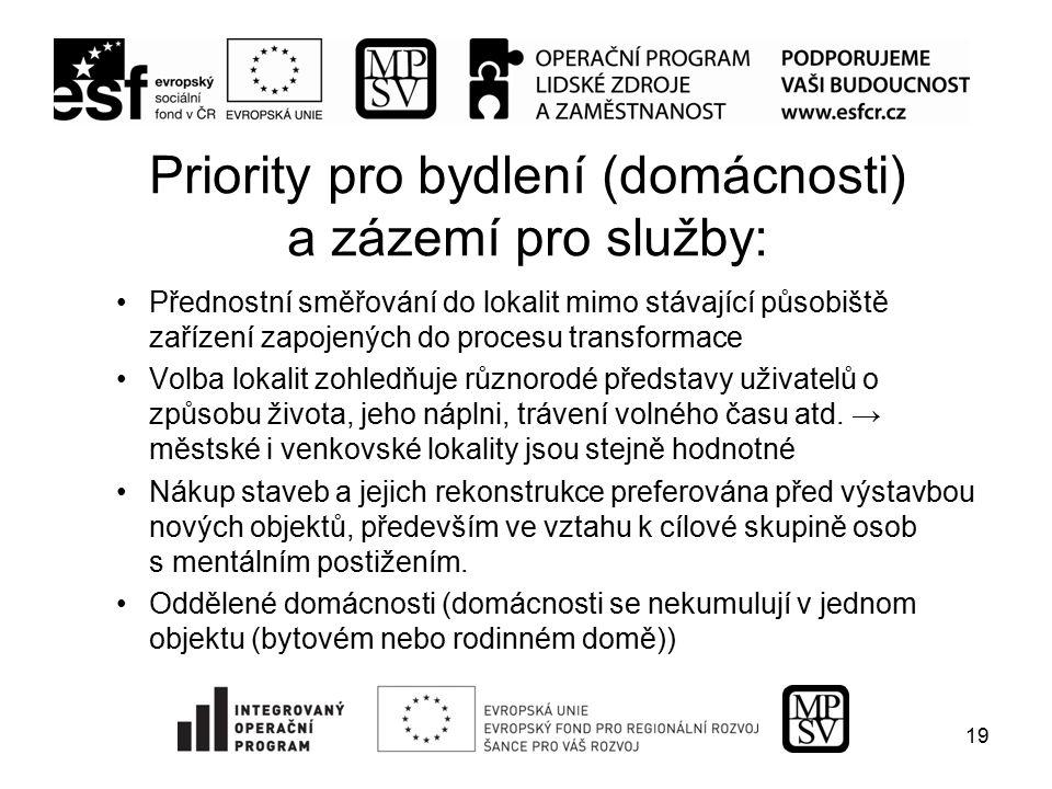 Priority pro bydlení (domácnosti) a zázemí pro služby: Přednostní směřování do lokalit mimo stávající působiště zařízení zapojených do procesu transfo