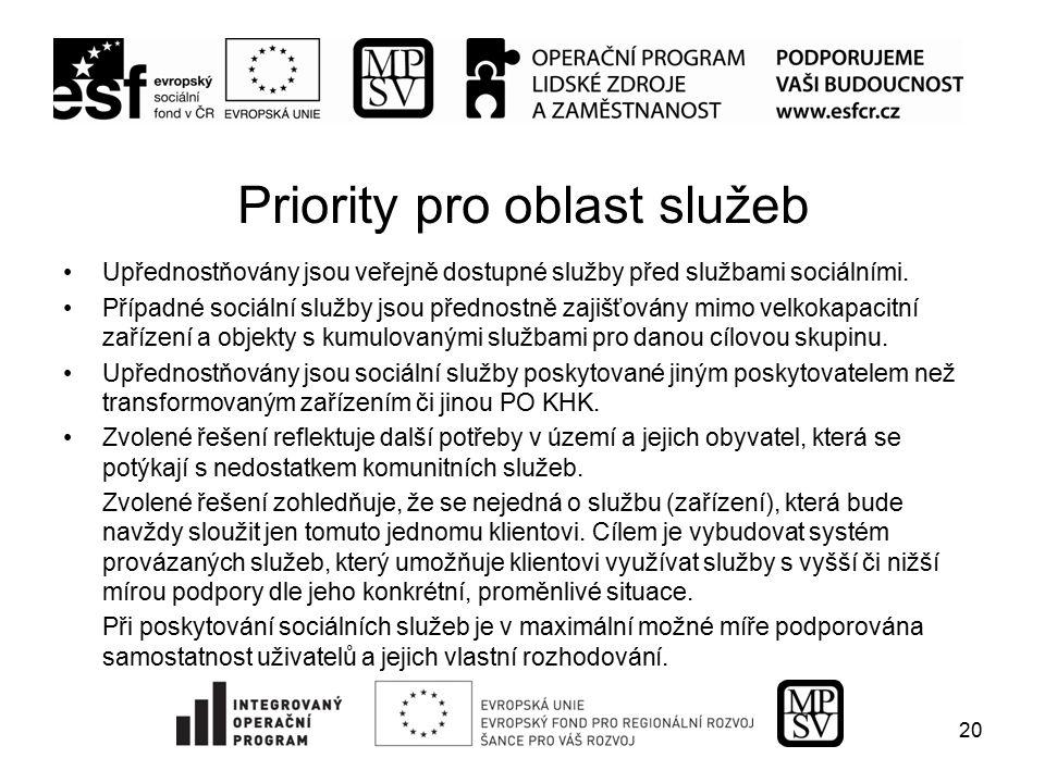 Priority pro oblast služeb Upřednostňovány jsou veřejně dostupné služby před službami sociálními. Případné sociální služby jsou přednostně zajišťovány
