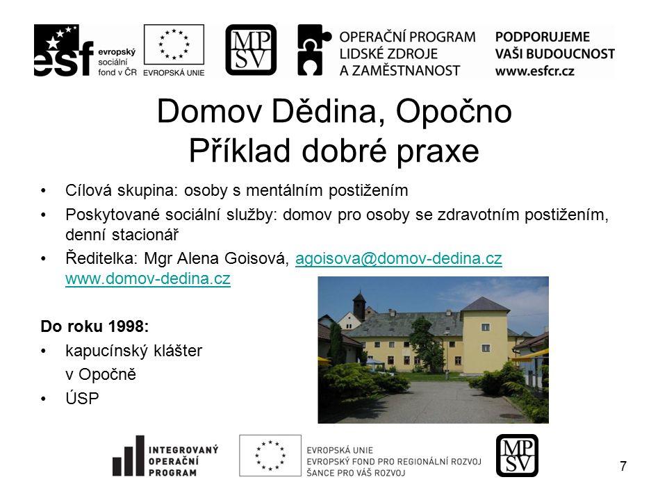 Domov Dědina, rok 1999 Středisko v Klášteře nad Dědinou - osm žen s lehčím mentálním postižením - podpora samostatného a nezávislého života - budova bývalé školy