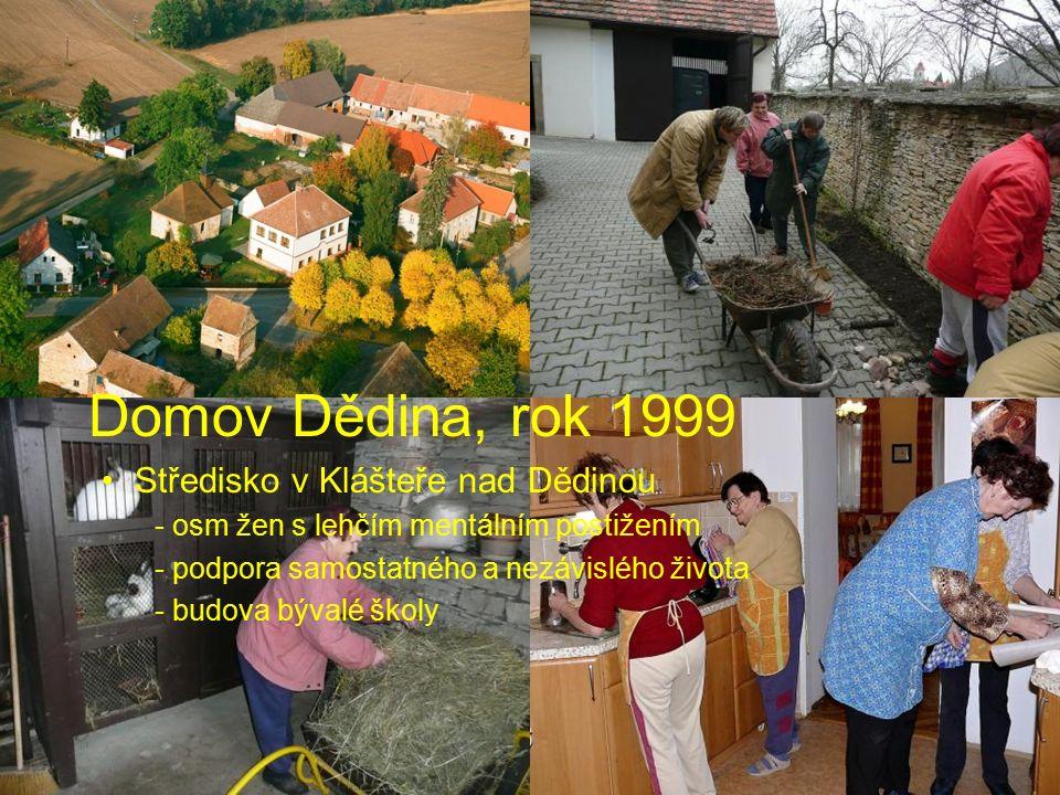 Domov Dědina, rok 1999 Středisko v Klášteře nad Dědinou - osm žen s lehčím mentálním postižením - podpora samostatného a nezávislého života - budova b