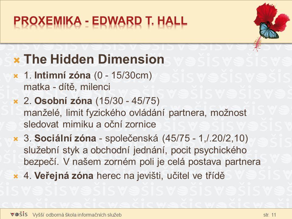 Vyšší odborná škola informačních služeb str. 11  The Hidden Dimension  1. Intimní zóna (0 - 15/30cm) matka - dítě, milenci  2. Osobní zóna (15/30 -