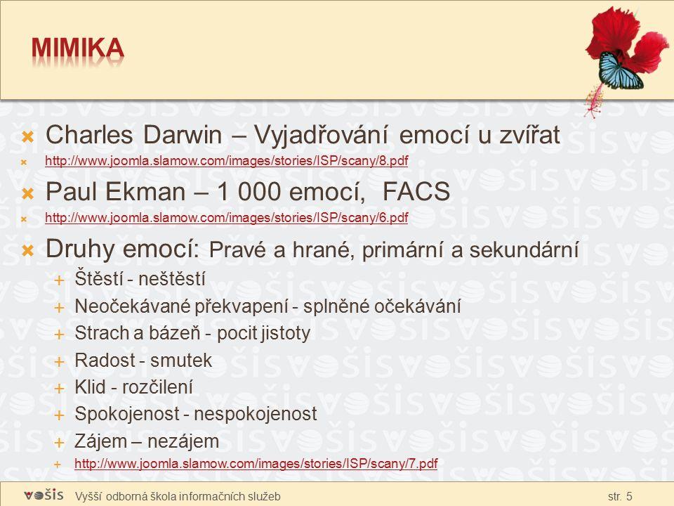 Vyšší odborná škola informačních služeb str. 5  Charles Darwin – Vyjadřování emocí u zvířat  http://www.joomla.slamow.com/images/stories/ISP/scany/8