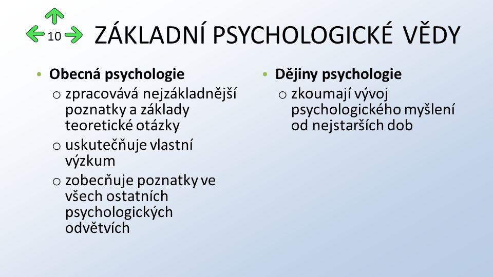 ZÁKLADNÍ PSYCHOLOGICKÉ VĚDY Obecná psychologie o zpracovává nejzákladnější poznatky a základy teoretické otázky o uskutečňuje vlastní výzkum o zobecňuje poznatky ve všech ostatních psychologických odvětvích Dějiny psychologie o zkoumají vývoj psychologického myšlení od nejstarších dob 10
