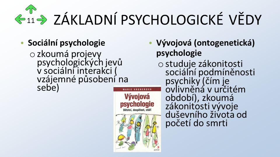 ZÁKLADNÍ PSYCHOLOGICKÉ VĚDY Sociální psychologie o zkoumá projevy psychologických jevů v sociální interakci ( vzájemné působení na sebe) Vývojová (ontogenetická) psychologie o studuje zákonitosti sociální podmíněnosti psychiky (čím je ovlivněná v určitém období), zkoumá zákonitosti vývoje duševního života od početí do smrti 11