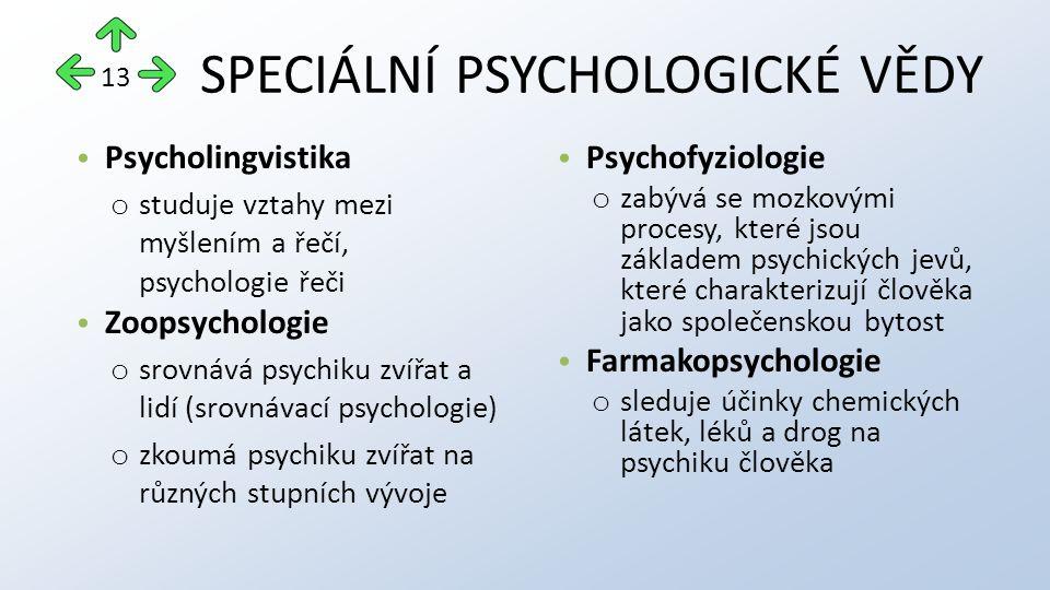 SPECIÁLNÍ PSYCHOLOGICKÉ VĚDY Psycholingvistika o studuje vztahy mezi myšlením a řečí, psychologie řeči Zoopsychologie o srovnává psychiku zvířat a lidí (srovnávací psychologie) o zkoumá psychiku zvířat na různých stupních vývoje Psychofyziologie o zabývá se mozkovými procesy, které jsou základem psychických jevů, které charakterizují člověka jako společenskou bytost Farmakopsychologie o sleduje účinky chemických látek, léků a drog na psychiku člověka 13