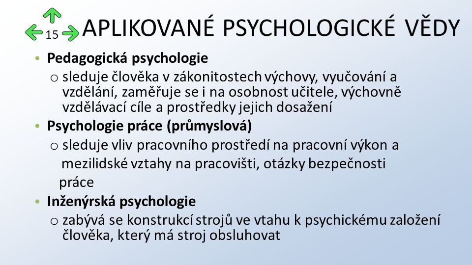 Pedagogická psychologie o sleduje člověka v zákonitostech výchovy, vyučování a vzdělání, zaměřuje se i na osobnost učitele, výchovně vzdělávací cíle a prostředky jejich dosažení Psychologie práce (průmyslová) o sleduje vliv pracovního prostředí na pracovní výkon a mezilidské vztahy na pracovišti, otázky bezpečnosti práce Inženýrská psychologie o zabývá se konstrukcí strojů ve vtahu k psychickému založení člověka, který má stroj obsluhovat APLIKOVANÉ PSYCHOLOGICKÉ VĚDY 15