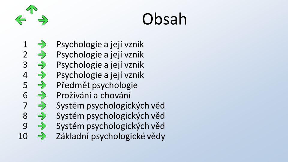 Obsah Základní psychologické vědy11 Základní psychologické vědy12 Speciální psychologické vědy13 Speciální psychologické vědy14 Aplikované psychologické vědy15 Aplikované psychologické vědy16 Aplikované psychologické vědy17 Význam psychologie18 Metody zkoumání 19-2219 Metody zkoumání20