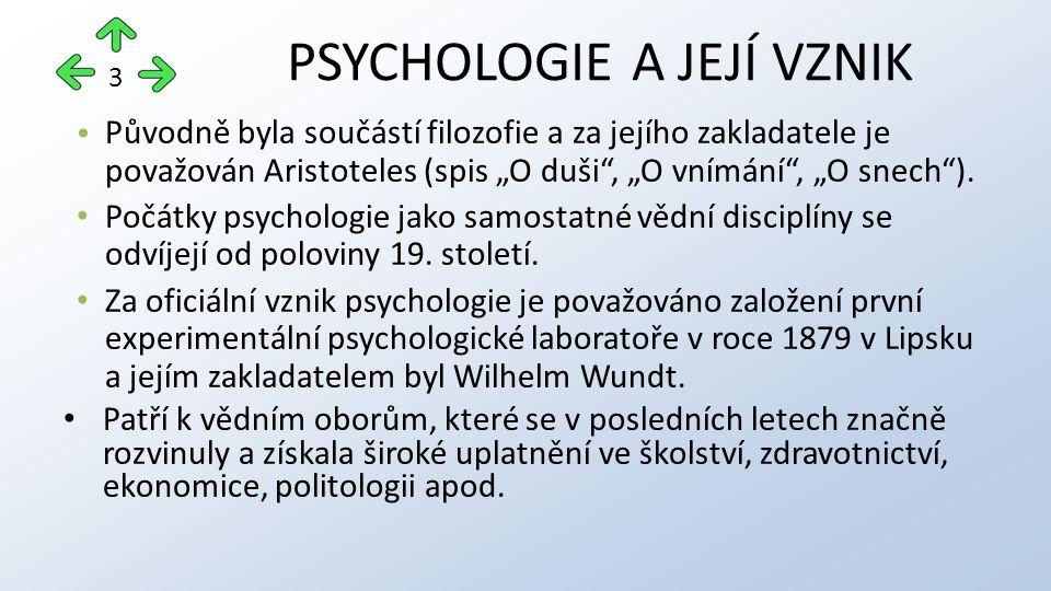 SPECIÁLNÍ PSYCHOLOGICKÉ VĚDY Diferenciální psychologie o studuje rozdíly mezi pohlavími a různými společenskými skupinami o studuje rozdíly mezi měřitelnými psychologickými jevy (schopnostmi a vlastnostmi) Psychometrie o orientuje se na sestavování (konstrukci) testů 14