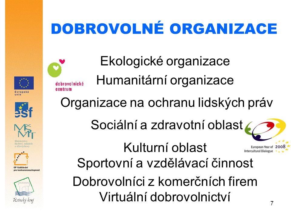 7 DOBROVOLNÉ ORGANIZACE Ekologické organizace Humanitární organizace Organizace na ochranu lidských práv Sociální a zdravotní oblast Kulturní oblast Sportovní a vzdělávací činnost Dobrovolníci z komerčních firem Virtuální dobrovolnictví