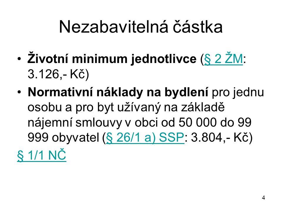 5 Stanovená částka Životní minimum jednotlivce (§ 2 ŽM: 3.126,- Kč)§ 2 ŽM Normativní náklady na bydlení pro jednu osobu (§ 26/1 a) SSP: 3.804,- Kč?)§ 26/1 a) SSP stejné jako nezabavitelná částka.