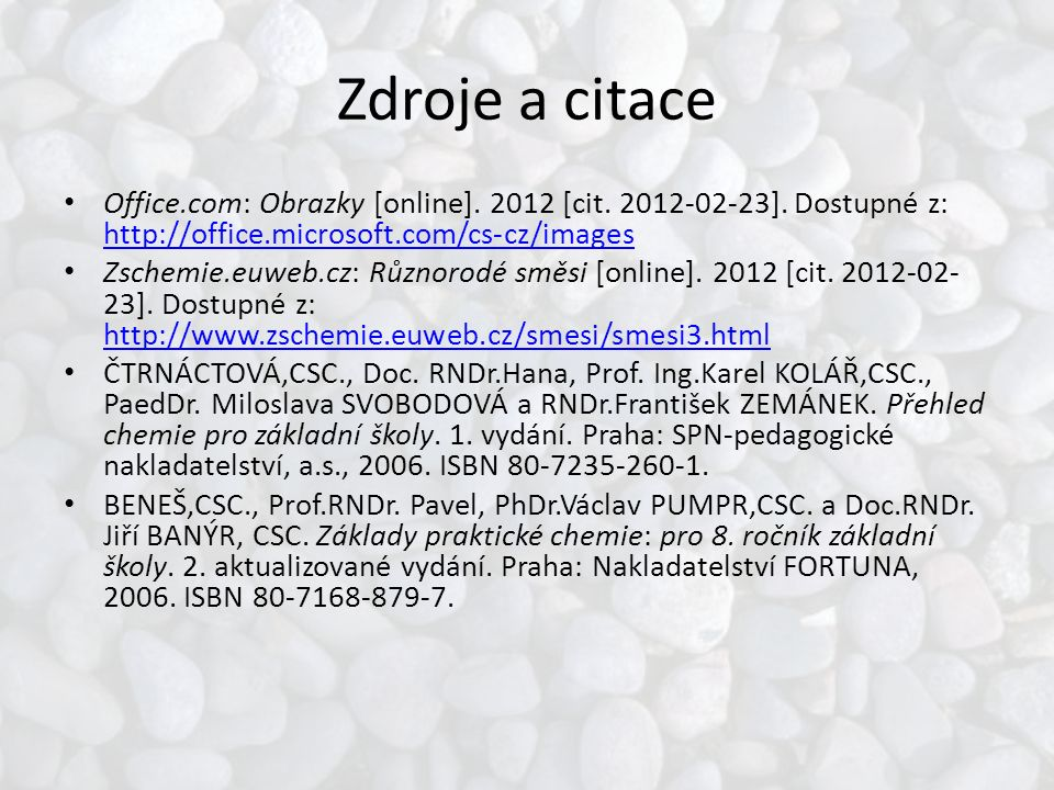 Zdroje a citace Office.com: Obrazky [online]. 2012 [cit.