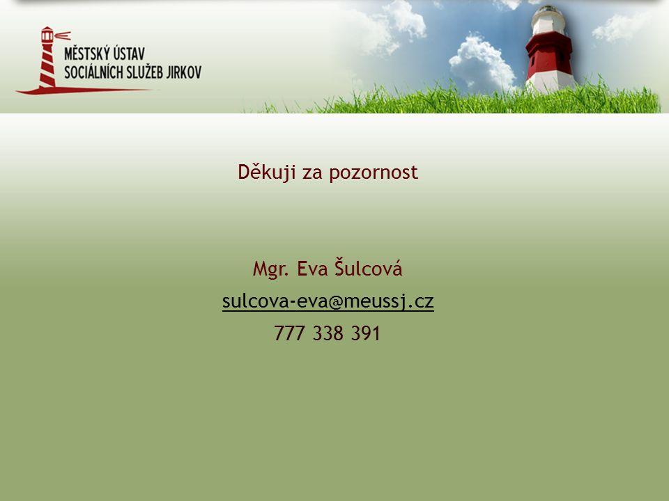Děkuji za pozornost Mgr. Eva Šulcová sulcova-eva@meussj.cz 777 338 391
