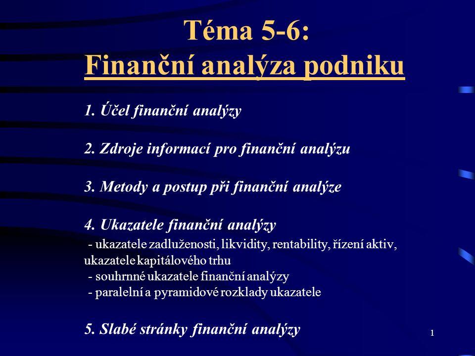12 Další ukazatele Přidaná hodnota/tržby Provozní cash flow/tržby Přidaná hodnota/počet zaměstnanců Tržby/ počet zaměstnanců Výnosy/přidaná hodnota Mzdové náklady/počet zaměstnanců Výsledek hospodaření před zdaněním/mzdové náklady Osobní náklady/tržby Nákladové úroky/tržby Náklady/výnosy aj.