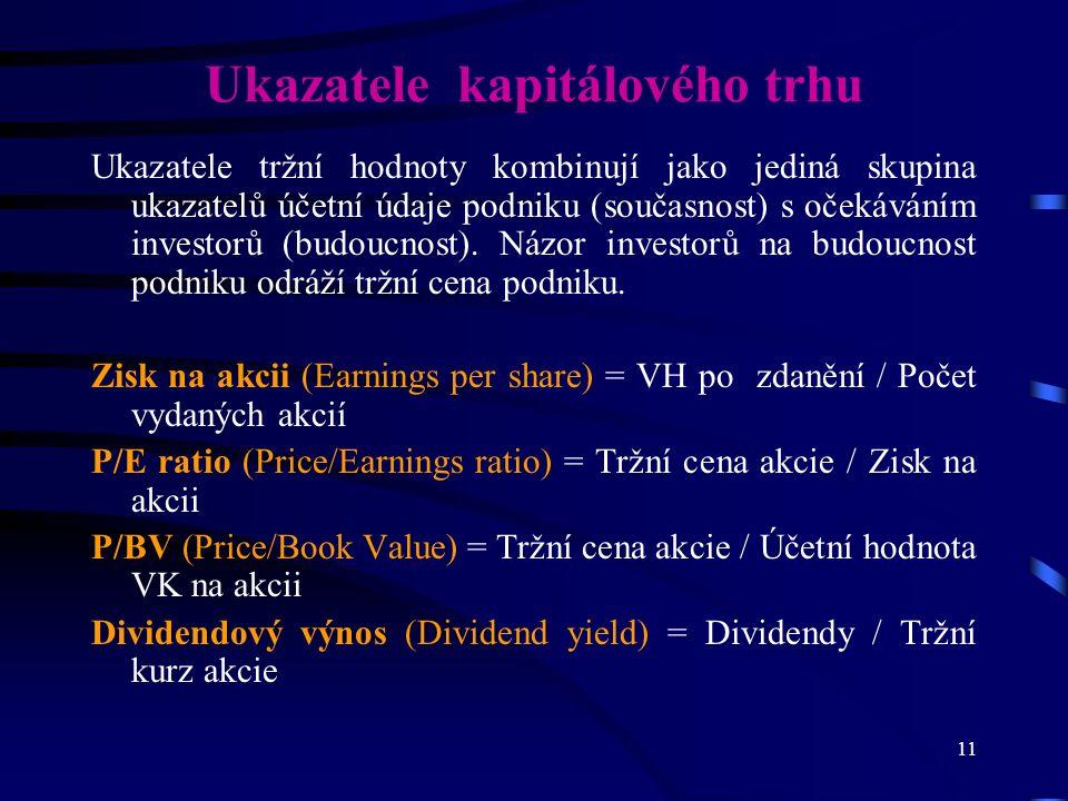 11 Ukazatele kapitálového trhu Ukazatele tržní hodnoty kombinují jako jediná skupina ukazatelů účetní údaje podniku (současnost) s očekáváním investorů (budoucnost).