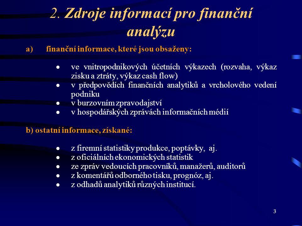 3 2. Zdroje informací pro finanční analýzu a)finanční informace, které jsou obsaženy:  ve vnitropodnikových účetních výkazech (rozvaha, výkaz zisku a