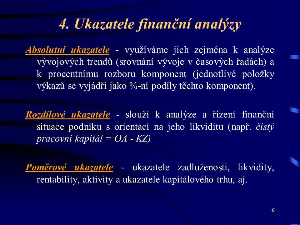6 4. Ukazatele finanční analýzy Absolutní ukazatele - využíváme jich zejména k analýze vývojových trendů (srovnání vývoje v časových řadách) a k proce
