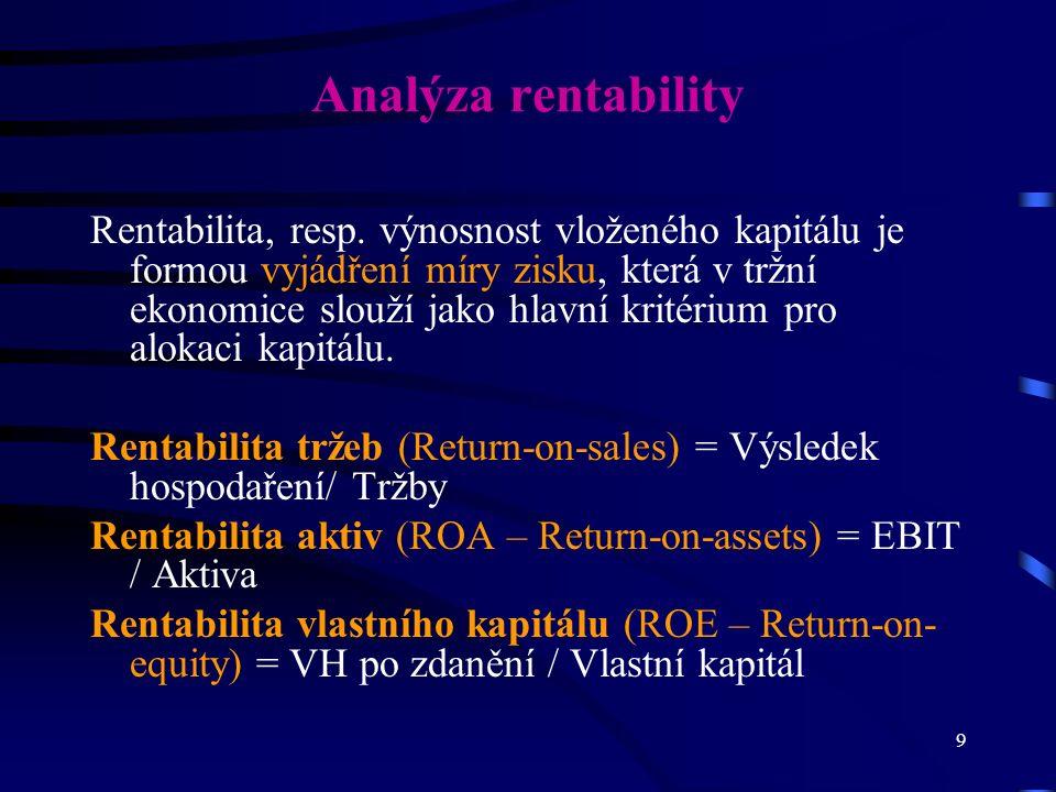 9 Analýza rentability Rentabilita, resp. výnosnost vloženého kapitálu je formou vyjádření míry zisku, která v tržní ekonomice slouží jako hlavní krité