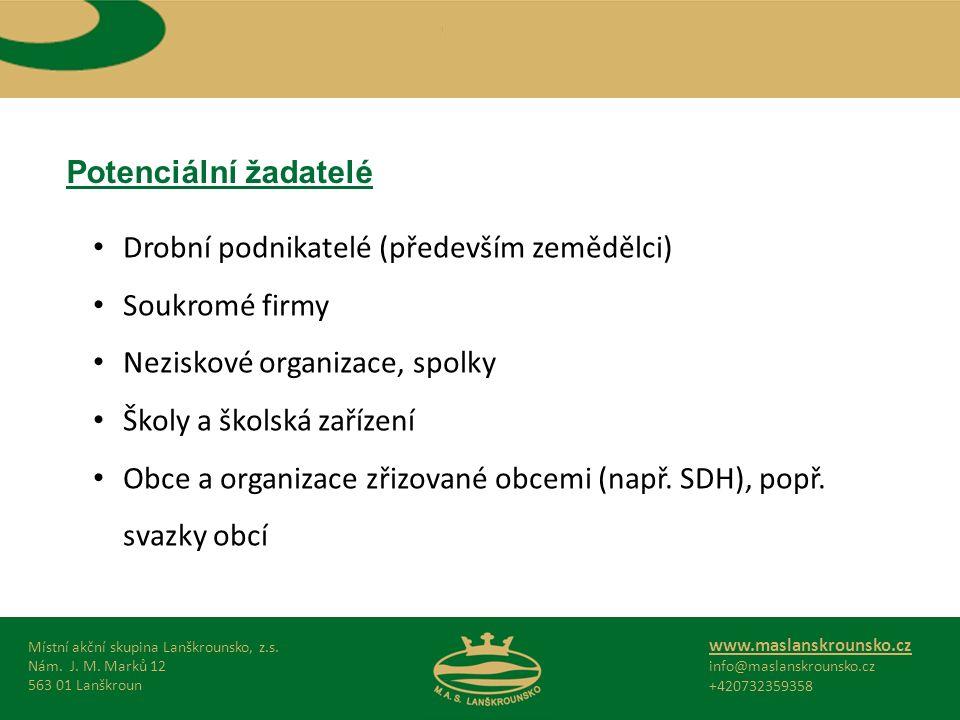 Potenciální žadatelé Místní akční skupina Lanškrounsko, z.s.